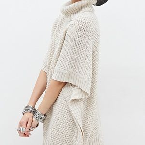 Forever 21 cozy knit turtleneck sweater poncho